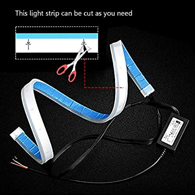 LEADTOPS Flexible Led Light Strip 2 Pcs 24 Inch Dual Color LED Headlight Surface Strip Tube Light White & Amber Daytime Running Light Waterproof Switchback Sequential Lamp Turn Signal Light: Automotive