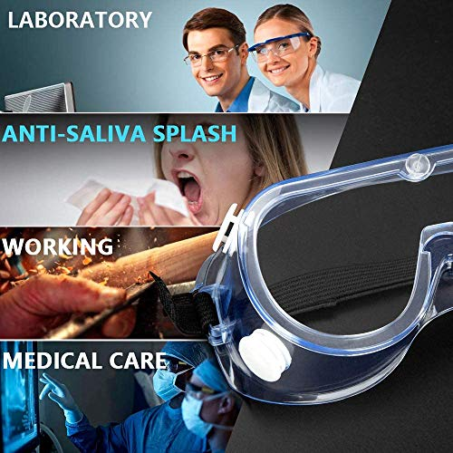 2Pcs Safety Glass Protective Full Cover Eyewear Goggles with Clear Anti Scratch Fog Resistant Wrap-Around Lenses Adjustable Comfort Strap for Labs Workplaces