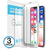 iPhone X Screen Protector, Maxboost (Clear, 3 Packs) iPhone X Tempered Glass Screen Protectors [3D Touch] 0.25mm Screen Protector Glass for Apple iPhoneX 2017 work with most case 99% Touch Accurate