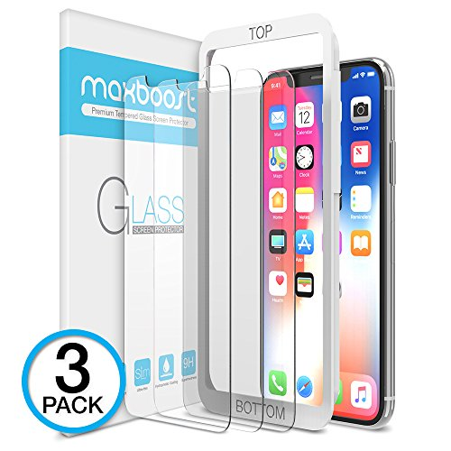 iPhone X Screen Protector, Maxboost (Clear, 3 Packs) iPhone X Tempered Glass Screen Protectors [3D Touch] 0.25mm Screen Protector Glass for Apple iPhoneX 2017 work with most case 99% Touch - Frames Glasses Online