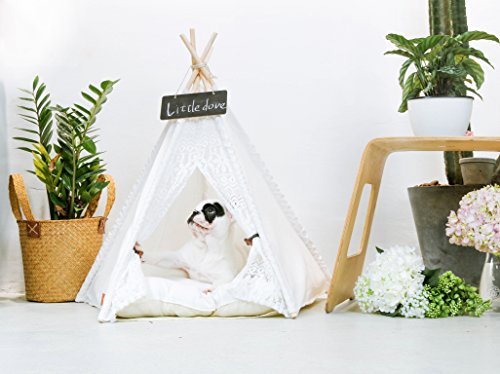 & little dove Pet Teepee Dog(Puppy) u0026 Cat Bed - Portable Pet Tents ...