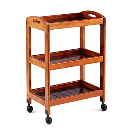 Amazon.com: ERRU- 3-Tier Retro Hairdresser Trolley, Salon SPA Beauty Carts on Wheels, Wood Barber Rolling Cart, Cathay Color: Home & Kitchen