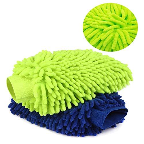 "choolo Car Wash Mitt, Premium Extra Large of 8"" x 11"" Microfiber Wash Sponge,Scratch Free Wash Glove with XL Size Polishing Cloth for Car/SUV/Truck(2 Pack)"