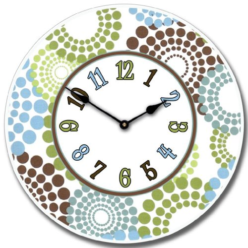 Clock Dot Brown - Blue Green Brown Dots Wall Clock, Available in 8 sizes, Most Sizes Ship 2-3 days, Whisper Quiet.