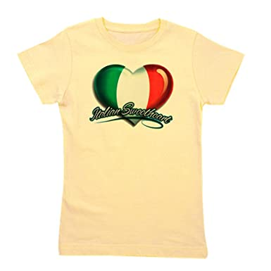 4fe45042 Royal Lion Girl's Tee T-Shirt Italian Sweetheart Italy Flag - Light Yellow,  Extra