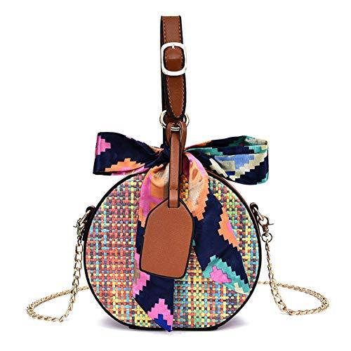 FTSUCQ Womens/Big Girls Handmade Crochet Straw Woven Shoulder Handbags Tote Beach Bag Satchels -