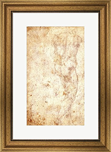 Study of a Male Nude by Michelangelo Buonarroti Framed Art Print Wall Picture, Wide Gold Frame, 18 x 24 inches