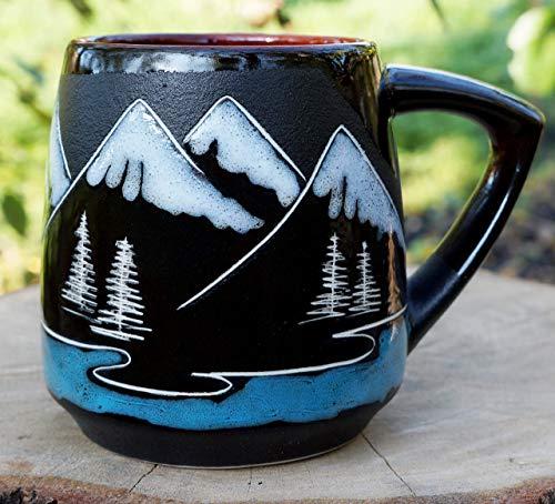 (Mountain coffee mug, 14oz, Handmade pottery mug, Large ceramic tea cup, Birthday gifts for him for men for husband, Mountain lover mug )