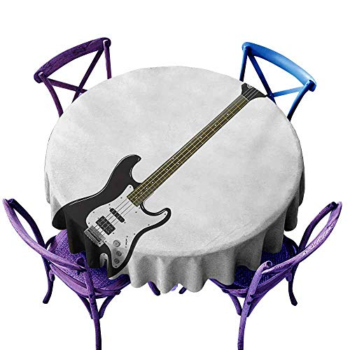Easy Care Tablecloth Guitar Bass Four String Rhythm Music Rock and Roll Element Detailed Illustration Black White Caramel Excellent Durability D55