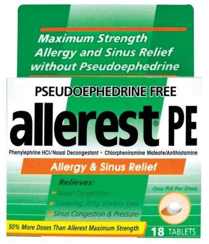 ALLEREST pseudoéphédrine allergie libre et Sinus Relief médicaments, 18 comte