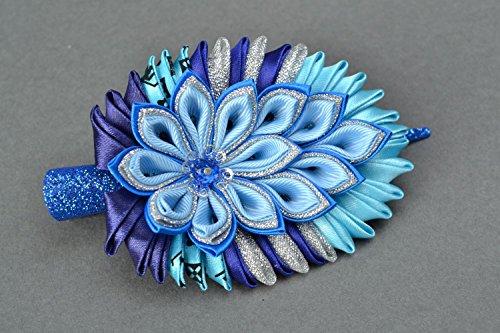 Kanzashi Rep And Brocade Hair Clip Blue Feather Of Firebird