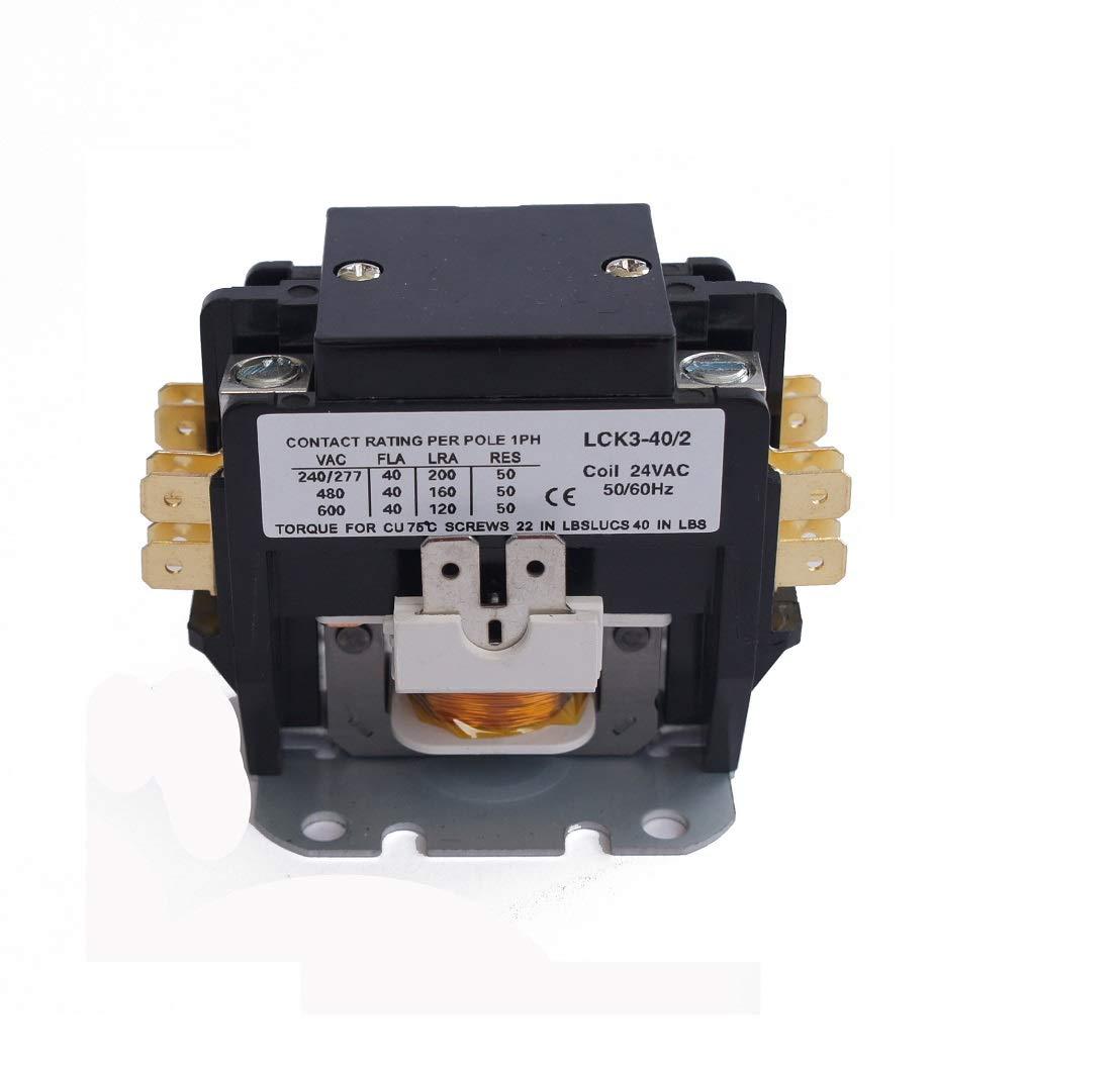 Pieces YC-CN-PBC402-1 HVAC CONTACTOR 40AMP 2P 24V Coil SA-2P-40A-24V 5