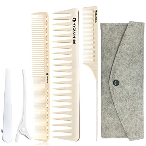 Professional Hair Combs - HYOUJIN 5in1 6ps Ivory White Professional Hair Styling Comb Set kit Beard Comb kit set & Heat-resistance w/Cutting Comb + Wide tooth comb + Pintail comb + 2 Hair Clips & Felt Pouch