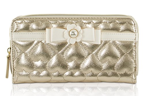 Betsey Johnson Gold Metallic Zip Around Wallet Clutch New In Box (Betsey Johnson Lily)