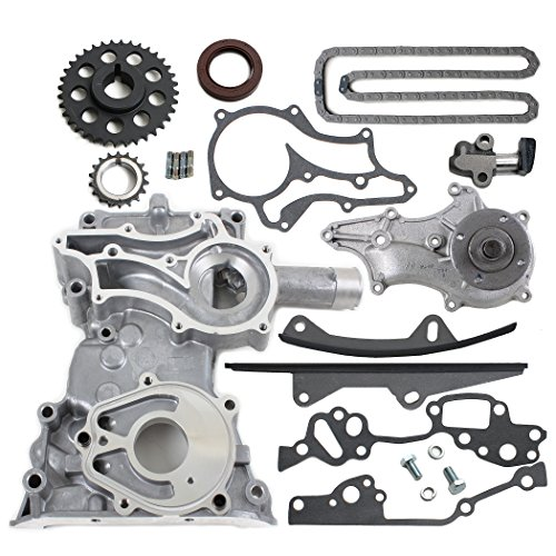 TK10120TCWP HD Timing Chain Kit (2 Heavy Duty Metal Guide Rails & Bolts) with Timing Cover, Water Pump for 85-95 Toyota 2.4L 4Runner Pickup Celica 4-Cylinder Engine 22RE 22REC