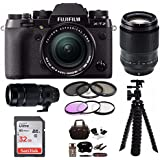 Fujifilm X-T2 Mirrorless Digital Camera w/ 18-55mm +90MM+100-400 F4.5-5.6 R LM OIS WR LENS +Focus 32G Kit