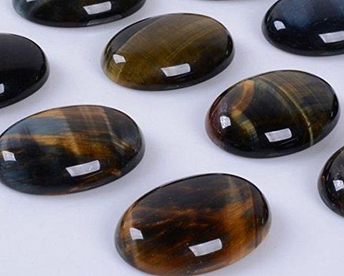 (Natural Gemstone Oval Cabochon CAB Flatback Semi-Precious Ring Face Loose Beads,DIY (Blue Tiger Eye, 25x18mm))