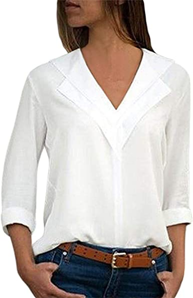 suelta de gasa con cuello en V para primavera informal Elegante camiseta de manga larga para mujer