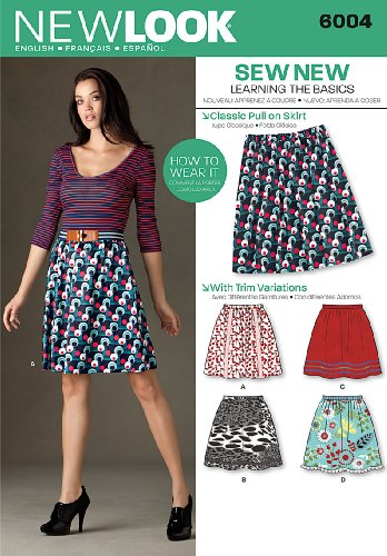 - Simplicity Creative Group Inc - Patterns New Look Sewing Pattern 6004 Misses' Learn to Sew Skirts, Size A (4-6-8-10-12-14-16)