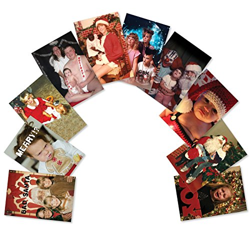 A5553XSG-B1x10 'Awkward Family Photos Assortment': Assorted Box of 10 Funny Christmas Cards Featuring a Set of Uncomfortable Family Christmas Cards; With - 1 Card Photo Christmas