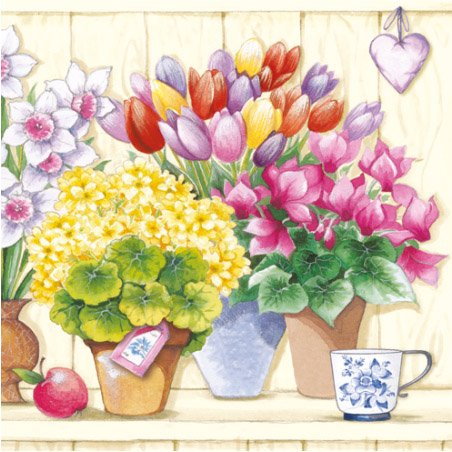 Paper Luncheon Napkins Veranda Tulips, Daffodils, Flowers in Pots - Flower Napkin Pot