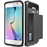 Galaxy S6 Edge Case, Asstar [Stand Feature] Wallet case [Anti Scratch][Card Pocket] Dual Layer Shockproof [Soft Rubber Bumper] Hybrid Protective Card Case for Samsung Galaxy S6 Edge (Black)