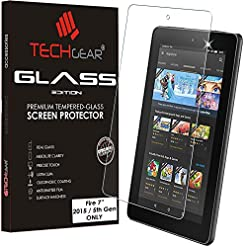 TECHGEAR GLASS Edition fits OLD Amazon Fire 7″ Tablet (2015 Edition / 5th Gen) – Genuine Tempered Glass Screen Protector Guard Cover (Not for 7th Generation / 2017 Release Fire 7″ tablet!)