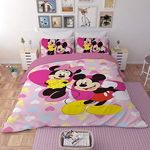 EVDAY Pink Mickey and Minnie Mouse Kids Duvet Cover Set Including 1Duvet Cover,2Pillowcases King Queen Full Twin Size