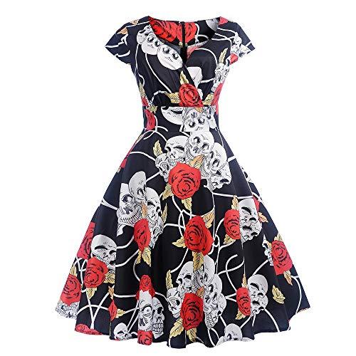 9f186fce86 Rojo Flores Otoño Manga Fiesta Impresión Grandes Mujer Vestidos Navidad  Cortos Larga Vintage De Club Moda ...