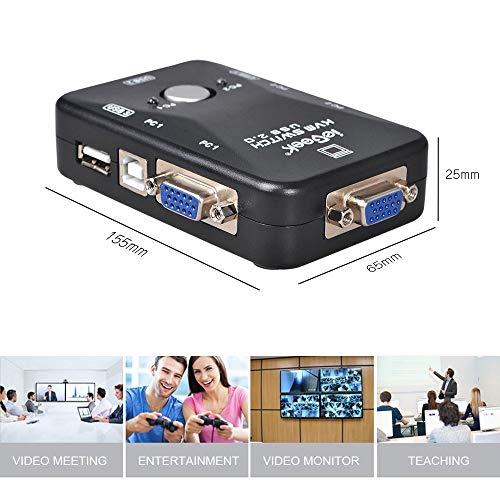 ieGeek KVM Switch Box Box a 2 Porte per PC Monitor + 2 Cavi USB VGA per Computer/Tastiera/Mouse Monitor, Plug And Play