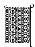 Shorping Welcome Garden Flag, 12x18Inch Pattern Folk Art Cross Stitch Monochrome Winter from Norway Sweden The Russia Scandianvian Sami for Holiday and Seasonal Double-Sided Printing Yards Flags