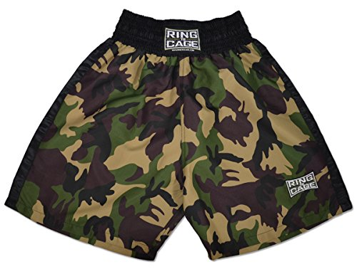Traditional Boxing Trunks, Camo/Black, Kids and Adult Sizes