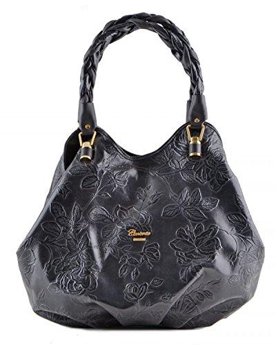 Cuoieria Fiorentina Italian Embossed Tooled Leather Hobo Handbag (Black) by Cuoieria Fiorentina