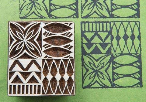 (Blockwallah Tapa Square Wooden Block Stamp)