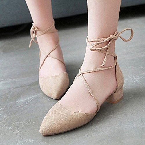 Shoes Women Summer Apricot TAOFFEN 5 Spring up Lace dHqcftfw