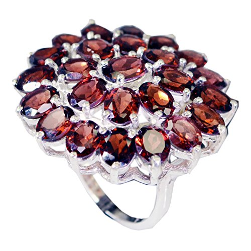 Real Red Garnet Ring Sterling Silver Cluster Setting Oval Gemstone Jewelry In Size 5,6,7,8,9,10,11,12