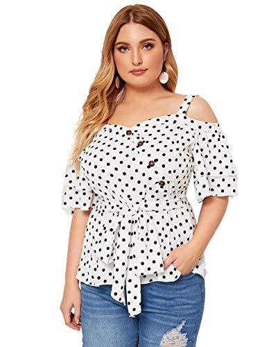 - Romwe Women's Plus Elegant Polka Dot Cold Shoulder Bow Tie Front Ruffle Peplum Hem Short Sleeve Blouses Shirt Tops White_Dot 2X