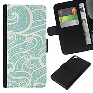 KLONGSHOP // Tirón de la caja Cartera de cuero con ranuras para tarjetas - Azul blanco del arte Dibujo viento mágico - HTC Desire 820 //