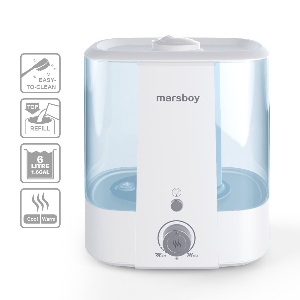 Ultrasonic Cool and Warm Mist Humidifiers, marsboy 6L (1.6 GAL) Anti Mold Aroma Diffuser Air Diffuser, Topside Water Refill, Super Quiet Operation, Ambient Night Light, Easy Cleaning for Baby Adults by Marsboy