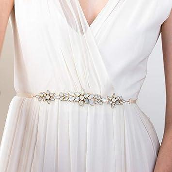 Amazon Com Sarekabride Opal Bridal Belt Leaves Crystal