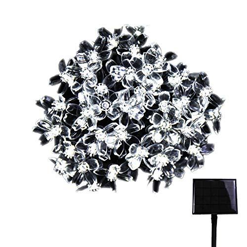 RPGT Solar String Lights 400LED USB Charging Fairy Cherry String Lights Waterproof 8 Modes Solar Powered Blossoms Starry Lighting (White) for Outdoor Christmas Garden Wedding Party Holiday Decoration