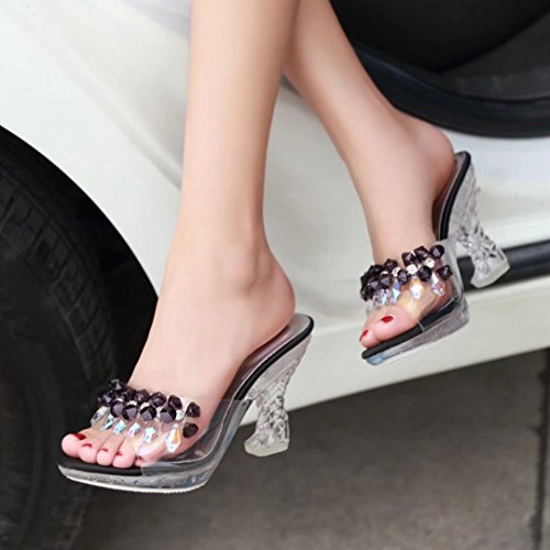 Toe Clear on Black AIYOUMEI Peep High Sandals Slip Slippers Summer Sliders Platform Block Ladies Heel qa0Xzwa