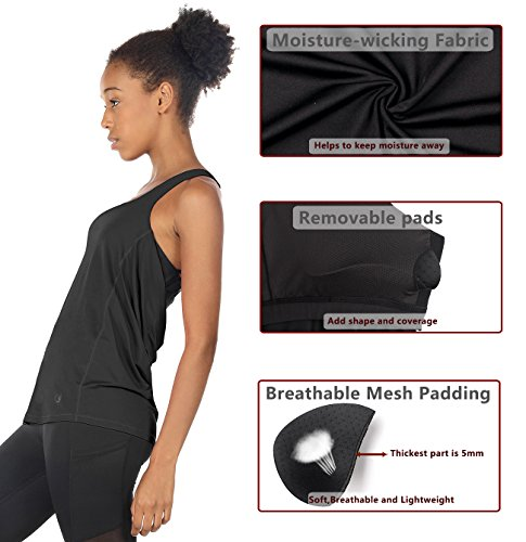 93a34ef589416 icyzone Yoga Tops Workouts Clothes Activewear Built in Bra Tank Tops for  Women (XL
