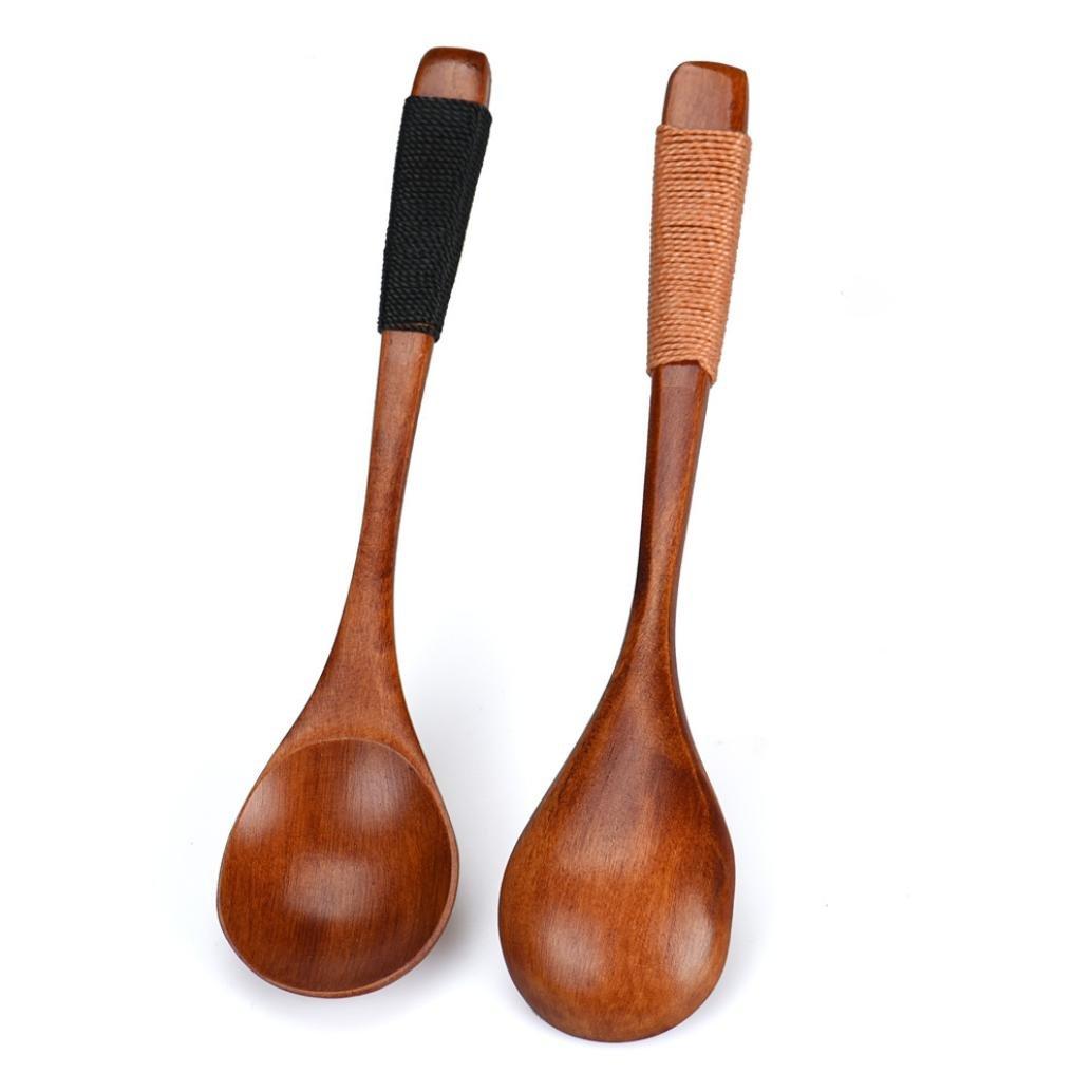 Wooden Spoon, Tuscom Bamboo Kitchen Cooking Utensil Tool Soup Teaspoon Catering Spoon, 14CM (Khaki +Black)