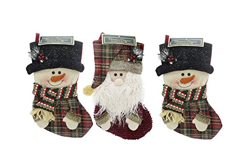 (Rustic Plush Country Style Christmas Holiday Stockings, Santa & Snowman Designs, Multicolor, Assorted 3 Pack , Large,)