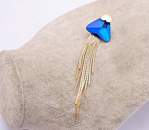 CNCbetter Women Fashion Jewelry Blue Multilayer Colorful Triangle Tassel Charms Stud Earring Party gift
