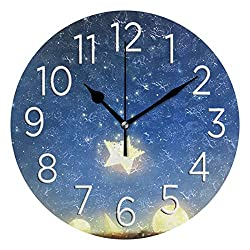 HousingMart Silent Round Wall Clock Galaxy Star Moon Planet Clock Battery Operated Wall Clock 9.85 Inch Non Ticking for Home Office