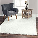 "Softest French White Sheepskin Faux Fur Shag Rug Feels & Looks Real, Without Animal Cruelty. Perfect for Photographers Designers & Your Bedroom Living Room or Nursery | Made in France 5x7 (55""x79"")"