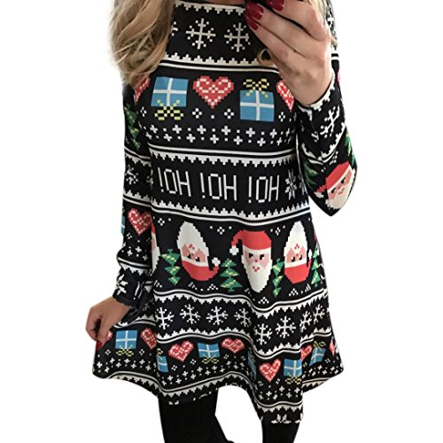 Christmas Santa Printing Women's Swing a Party Dress BESSKY Claus SY4TwEqw