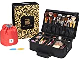 Ballage Travel Makeup Bag (3-Tier) Cute, Waterproof, Multipurpose Cosmetics Organizer | Padded Handle, Shoulder Strap | Overnight Pouch, 6-Sided Nail File